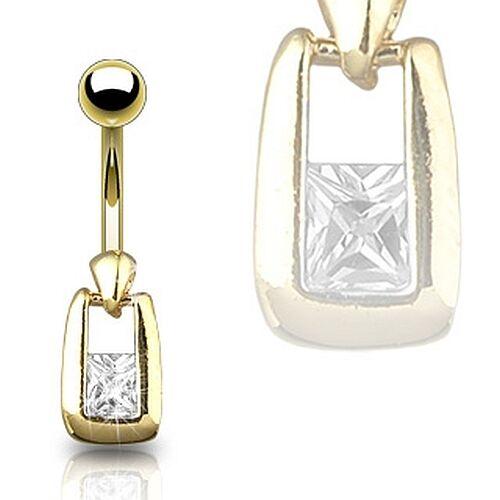 Bauchnabelpiercing in eleganter Gold Optik mit Zirkonia Stein