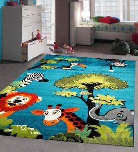 Soft Blue Nursery Kids Animal Rug Carpet Mat Playroom Baby