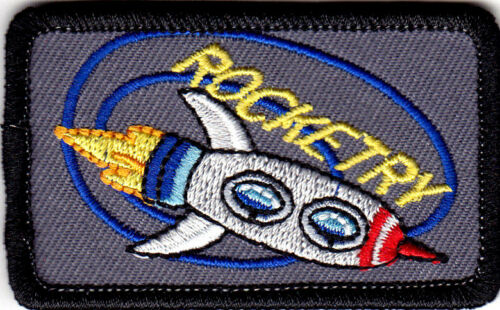 """/""""ROCKETRY/"""" Iron On Embroidered Patch Rocket Outer Space Science"""