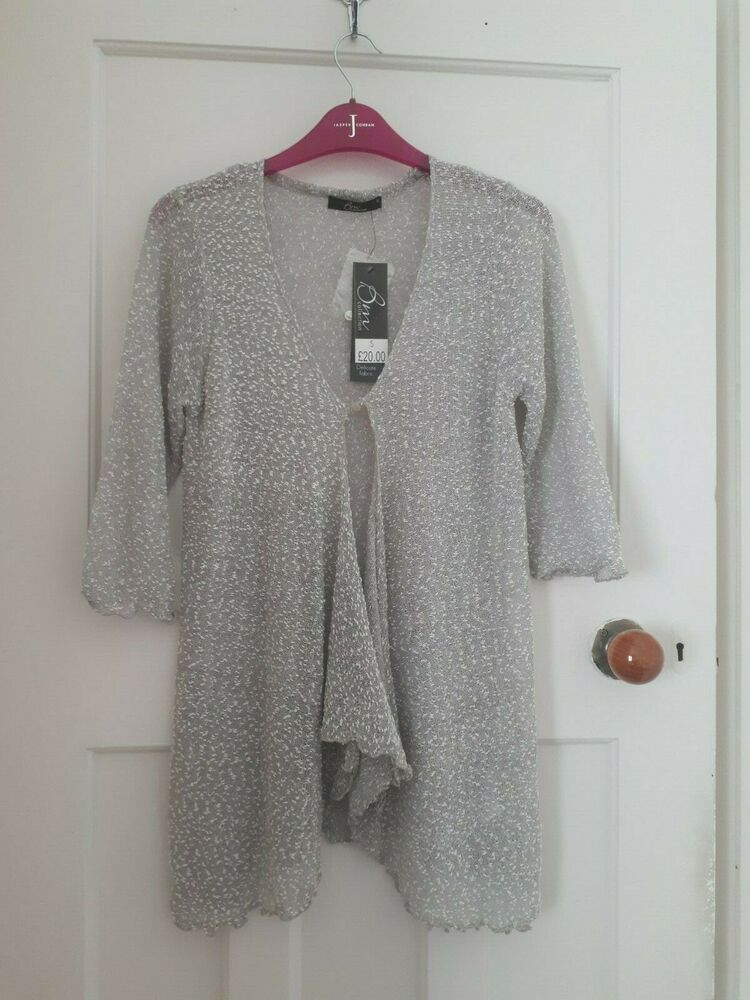 * Bnwt £ 20 * Gris Mailles Fines Popcorn Cardigan Cascade-taille S 8 10 12