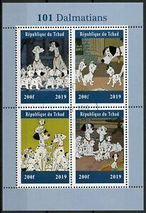 Chad-2019-CTO-101-Dalmatas-4v-m-s-Perros-Disney-Dibujos-animados-Animacion-sellos