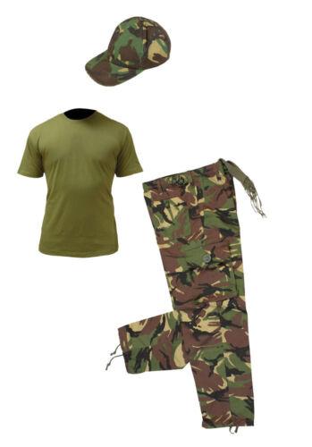 Shirt Pants Cap Kids Pack 2 Army Camo Fancy Dress Children/'s Soldier Outfit