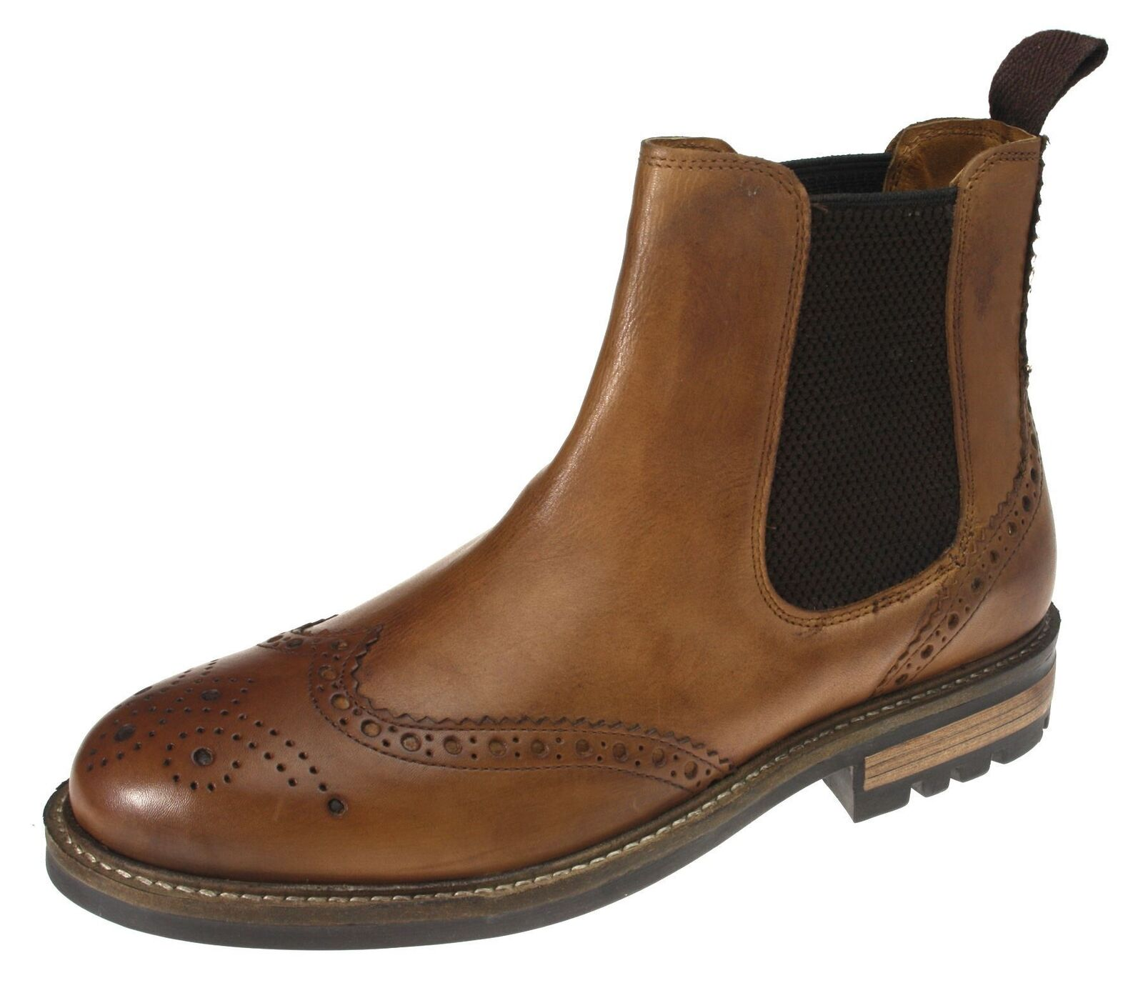 rot Tape Callan Tan braun Pull On Chelsea Ankle Stiefel Brogue Dealer Leather