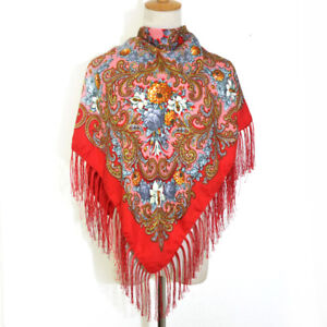 AUTHENTIQUE-Foulard-Chale-Russe-en-coton-Rouge