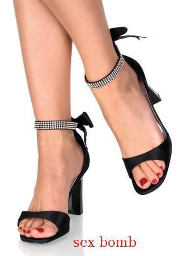 SEXY sandali STRASS tacco 8 dal 35 al 44 cavigliera NERO SATIN cavigliera 44 fashion GLAMOUR ! ed85b6