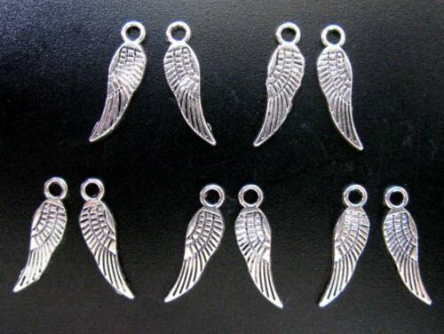 17mm x 5mm Fairy Wing Pendants Angel Double Sided Tibetan Silver Charms
