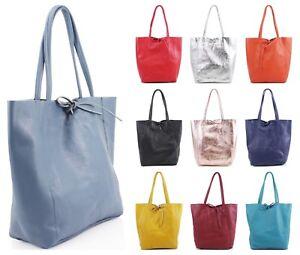 Womens Large Italian Shiny Real Leather Shoulder Handbag Shopper Tote Bag