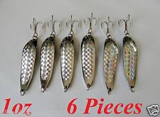 6 Pieces 1oz Casting Spoons Chrome/Silver Fishing Lures Crocodile Spoons