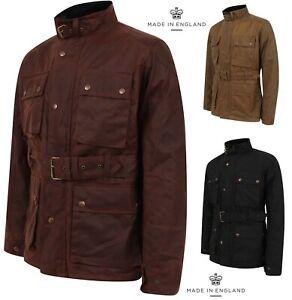 Mens-Antique-Waxed-Cotton-Motorcycle-Jacket-Coat-Biker-Wax-Belted-Coat-Lewis-Cre