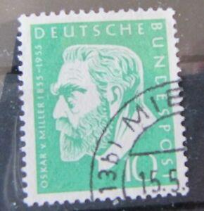 BRD-Bund-Briefmarken-1955-Mi-209-Oskar-Miller-Gestempelt
