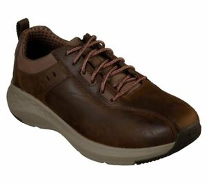Leather-Skechers-Brown-Shoes-Men-Memory-Foam-Sporty-Casual-Comfort-Oxford-66006