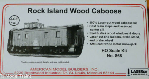 Laser Cut Wood American Model Builders HO #868 Wood Caboose Rock Island