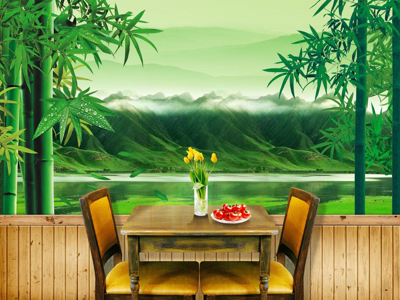 3D Hügel und Bambus 1 Fototapeten Wandbild Fototapete Bild Tapete Familie Kinder