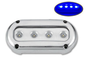 ULTRA BRIGHT BLUE LED STAINLESS STEEL UNDERWATER LIGHT SURFACE MOUNT