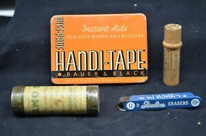 Lot-of-4-Unique-Vtg-Tins-Medical-HANDI-TAPE-CAMO-STICK-Sheaffers-Erasers-Boye