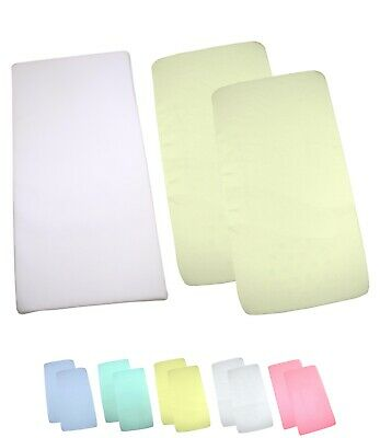 BabyPrem Pack of 2 Fitted Crib//Cradle Sheets 100/% Cotton 90 x 40cm WHITE