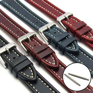 Flat-Leather-Watch-Strap-Band-Edge-Ribbed-Contrast-Stitching-16mm-18mm-20mm-LB06