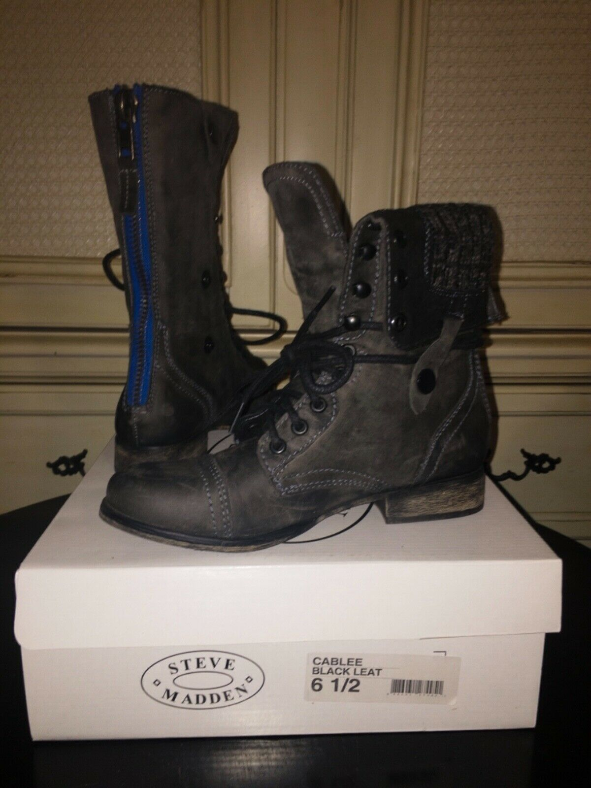 NEW Steve Madden CABLEE Combat Boots BLACK LEATHER Zip/Laced Women's SZ 6.5M