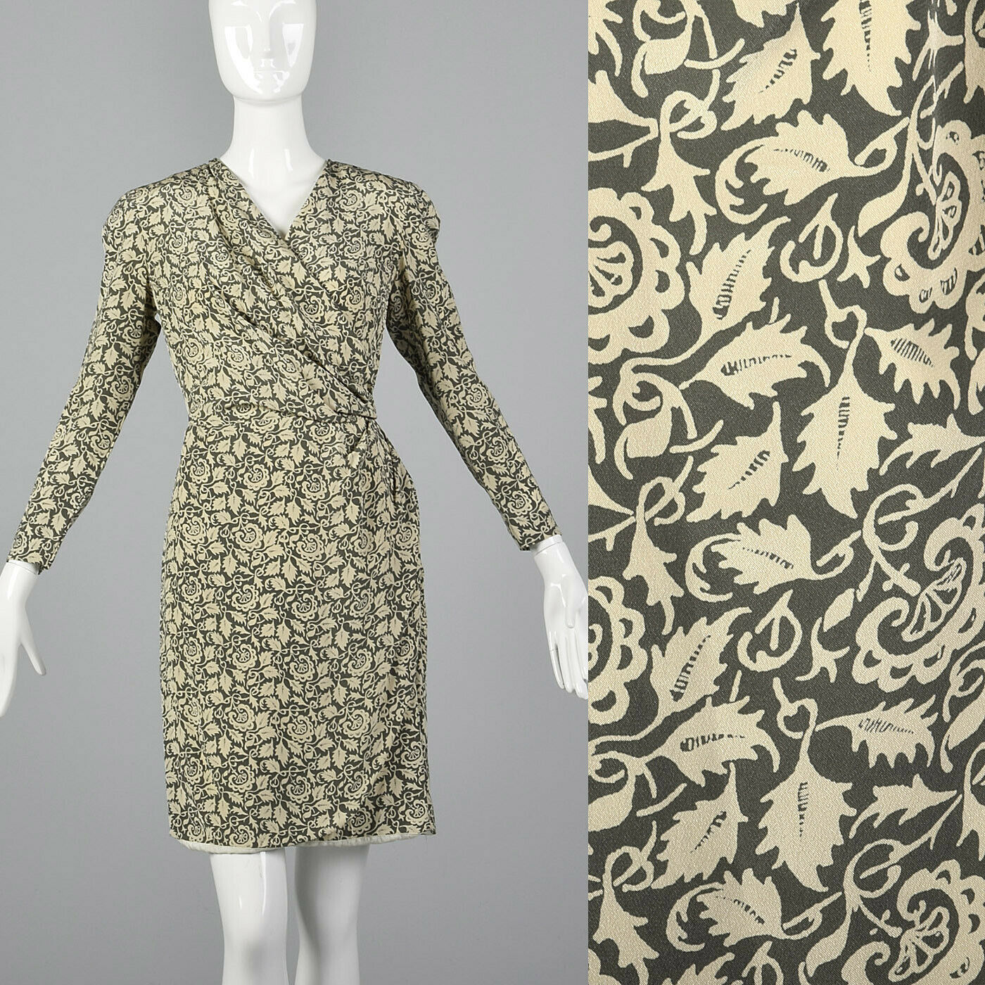 Small 1980s Louis Feraud Silk Wrap Dress VTG Leaf Print  Vintage 80s Long Sleeve