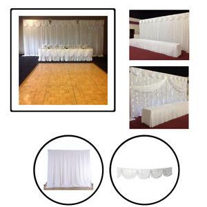 White Ice soie Toile de fond Rideau Avec Amovible Swag Fête de mariage studio photo