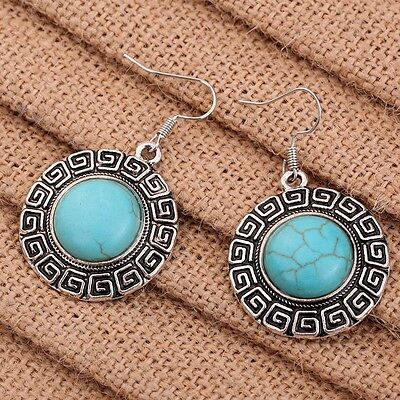 Nice Jewelry Round Edge Patterned Turquoise pendant Tibetan Silver hook Earrings
