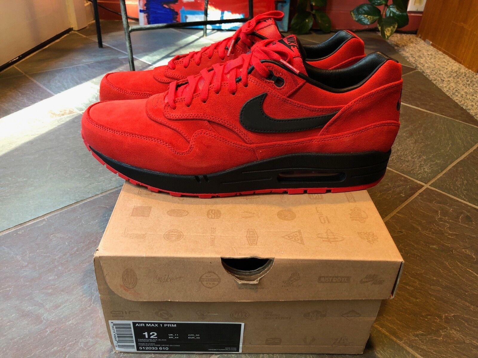 2012 Nike Air Max 1 PRM Premium Pimento Red Nero 3M size 12