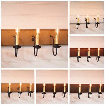 Country Rustic 4-arm Wood Mirror Vanity Bar Wall Light w// Stars in Black