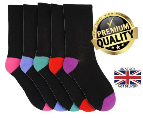 New Women/'s 5 Pairs Black Toe /& Heel Cotton Blend UK 4-7 Office Socks
