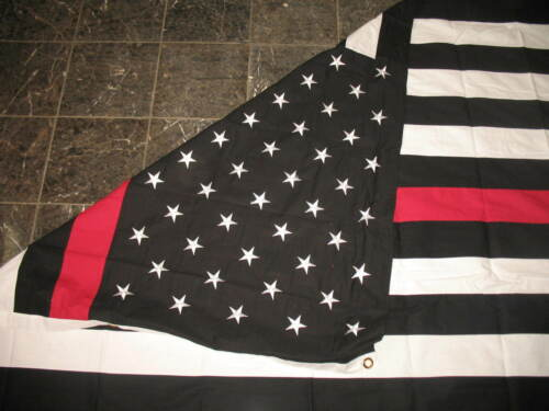 5x9.5 ft Embroidered Sewn USA American Thin Red Line Fire Cotton Casket Flag