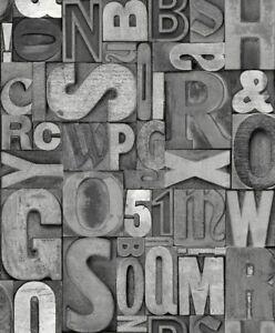 Ugepa Tapete J480 09 Grau Buchstaben 3d Vinyloberflache Ebay