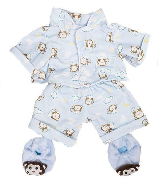 88ad051c20 Blue Monkey PJs Pyjamas With Slippers 8 20cm Teddy Bear Clothes Outfit for  sale online   eBay