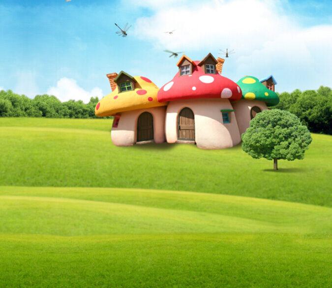 3D Die Libelle, pilze Gras Fototapeten Wandbild Fototapete BildTapete Familie DE