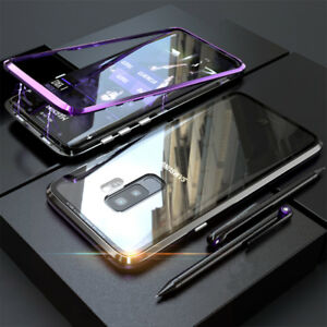 brand new 6ca9e bb2fd Details about For Samsung Galaxy S9 Plus Magnetic Adsorption Metal Case  Tempered Glass Cover