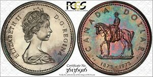 1973-CANADA-SILVER-DOLLAR-MOUNTED-POLICE-PCGS-SP66-COLORFULLY-TONED-REVERSE