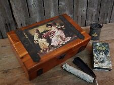 Antique Primitive Wood Fortune Teller Gypsy Witch Box w/ Tarot Deck & More OOAK