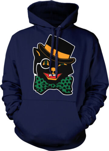 Trick or Treat  Hoodie Pullover Black Halloween Cat With Bowtie Monocle and Hat