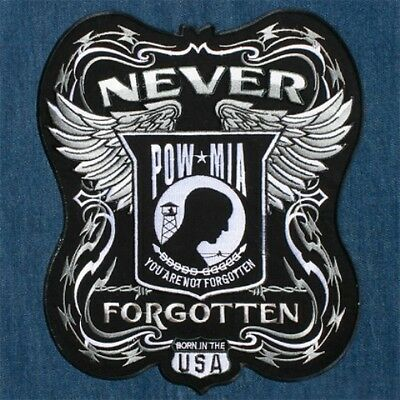 POW MIA Never Forgotten Born In The USA Large Embroidered Back Patch Backpatch