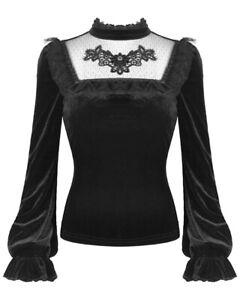 Dark-In-Love-Womens-Gothic-Top-Black-Velvet-Lace-Dot-Mesh-Steampunk-Victorian