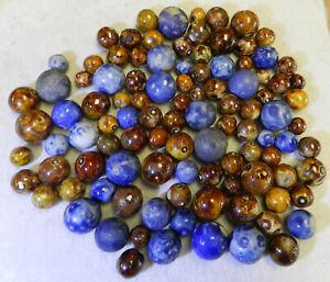 10647m-Vintage-Group-or-Bulk-Lot-of-100-German-Handmade-Clay-Bennington-Marbles