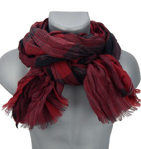 Men/'s Scarf Red Black by Ella Jonte Autumn Winter Scarf Soft and Warming New