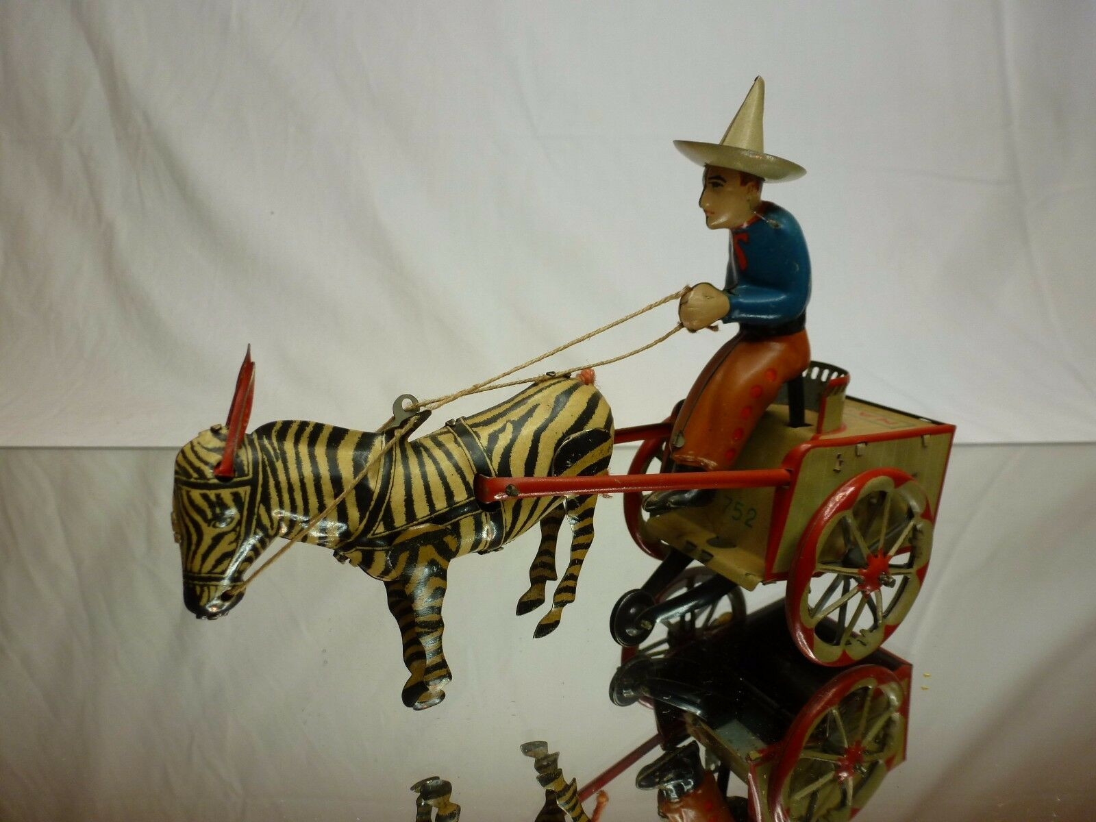VINTAGE TIN TOY WINDUP by LEHMAN NA-NU 752 ZEBRA CART - VERY RARE - GOOD