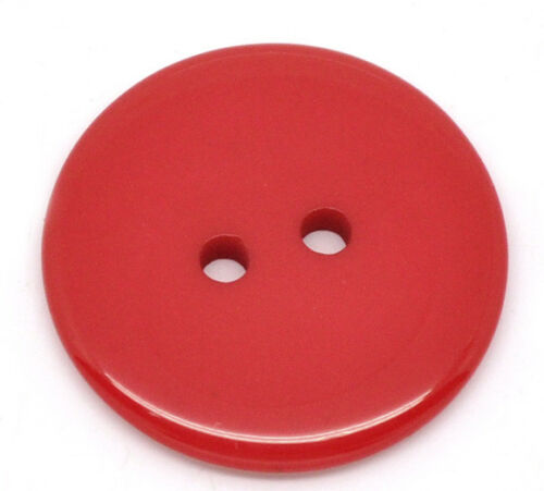 NEW BULK 50 LOVELY ROUND RED COLOURED RESIN BUTTONS 23MM FREE P/&P!