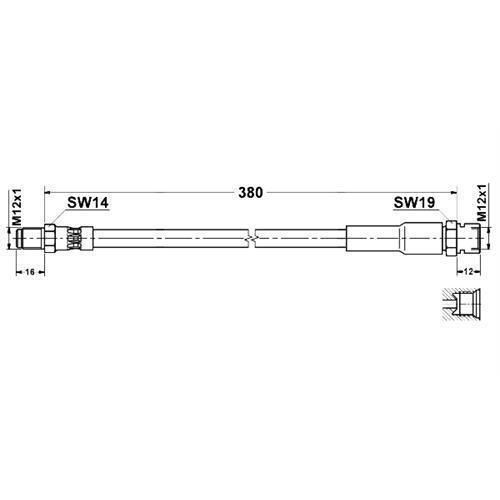 1x flexible 380mm Mercedes-Benz w170 unimog u90 u100l u800 u900 u1150