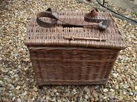 Vintage wicker fishing basket creel with thick adjustable leather strap