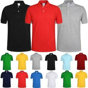 For-Men-039-s-Polo-Shirt-Plain-Golf-Sports-Cotton-T-Shirt-Jersey-Casual-Short-Sleeve