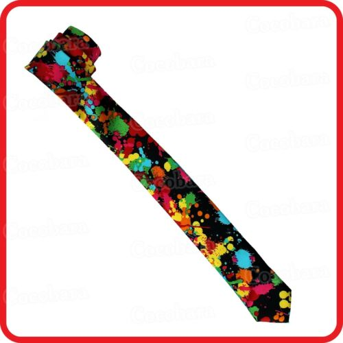 COLORFUL PAINT SPATTER SPLATTER SCATTERED DROPS SKINNY NECKTIE TIE-COSTUME-PARTY