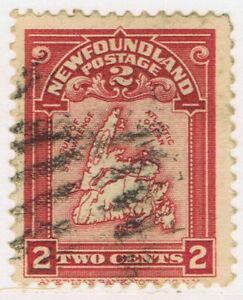 Newfoundland-86-2-1908-2-cent-rose-carmine-MAP-OF-NEWFOUNDLAND-Used-CV-5-00