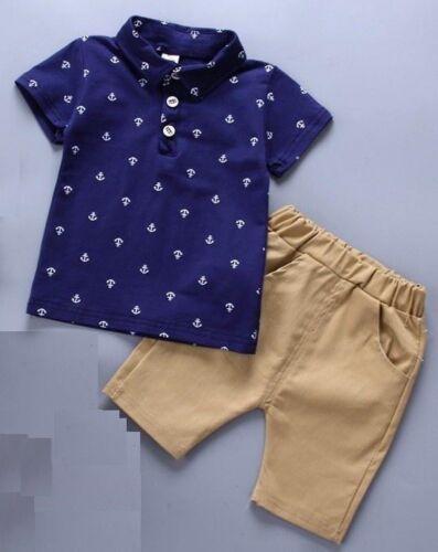 Baby Boy Summer Sailor Anchor Set T-Shirt Top Shorts Outfit 6 12 m 2 3 4 ans