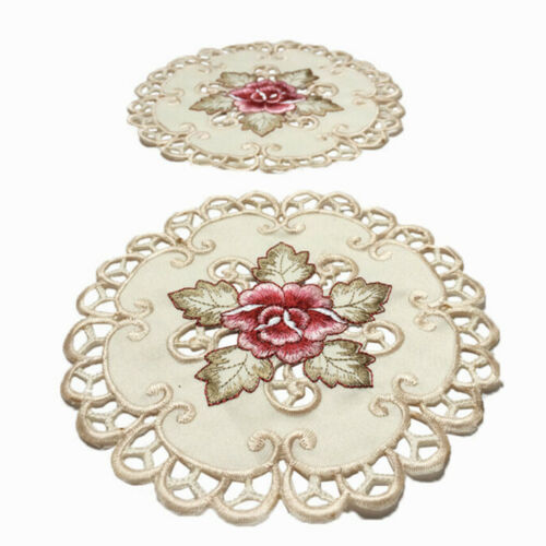 Vintage Embroidered Cutwork Christmas Placemat Doily Table Cover Xmas Doilies