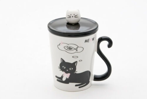 Coffee Mug Tea Cup Cat Ceramic With Lid And Decorative Spoon Meow Pet Lover Gift